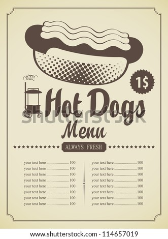 menu list for fast food featuring hot dogs