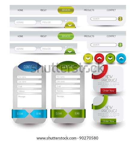 menu navigation with web contact box and banners
