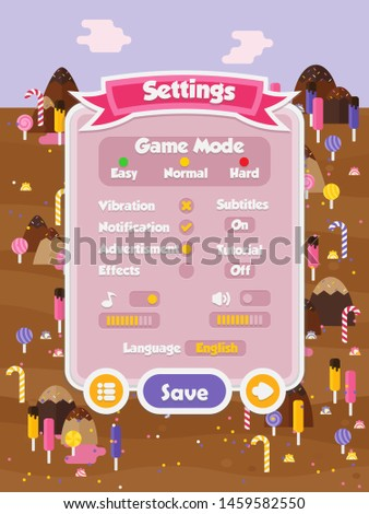 Menu of graphical user interface on screen of 2d mobile game application in flat cartoon style with sweet candy theme