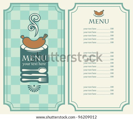 menu of sausages and cutlery