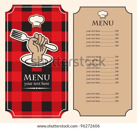 menu on black red background with fork in hand