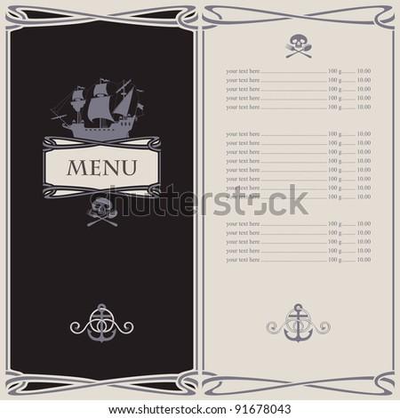 menu on the pirate theme
