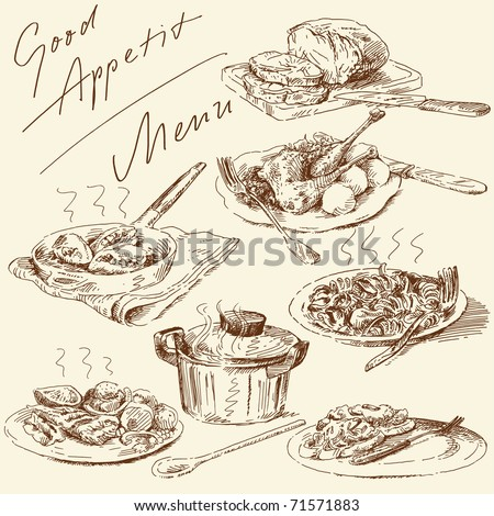 menu-original hand drawn set - stock vector
