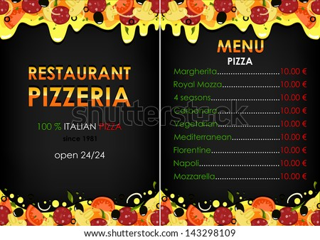 Menu Pizza On Black Background Vector Version