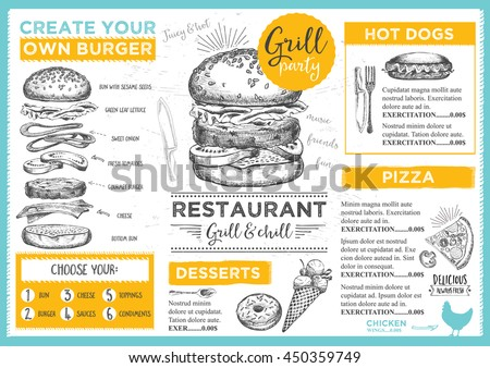 Menu placemat food restaurant brochure, menu template design. Vintage creative dinner template with hand-drawn graphic. Vector food menu flyer.