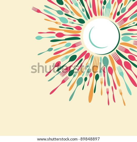 Menu restaurant background. Fork, knife and spoon silhouettes on different sizes and colors around white dish. Vector available