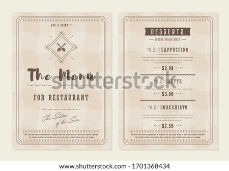 Menu restaurant. Food menu layout design brochure or food flyer template. Fast food brochure, restaurant template design vector illustration.