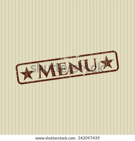 Menu rubber stamp with grunge texture