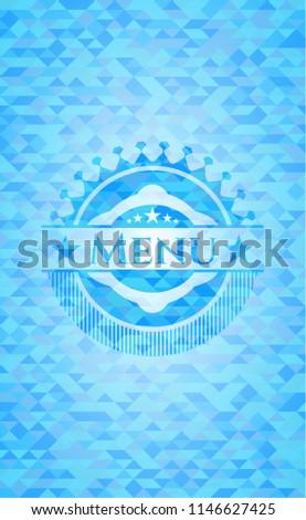 menu sky blue emblem with...