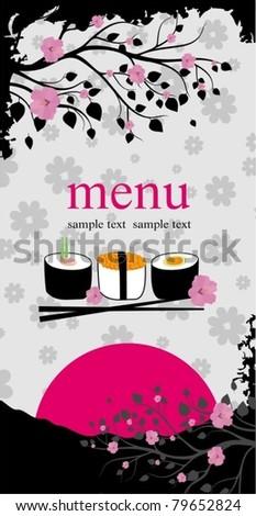 Menu. Sushi with chopsticks. vector background