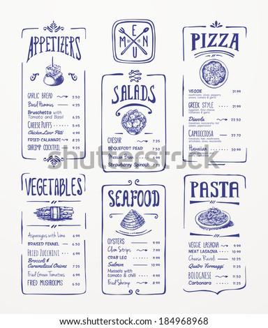 Menu template. Blue pen drawing. Appetizers, vegetables,salads, seafood, pizza, pasta.