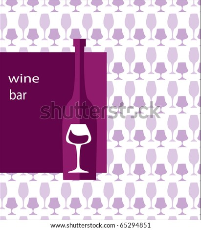 menu template for bar. bottle of wine and glass on pink background