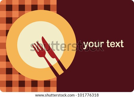 menu template with plate , fork and knife