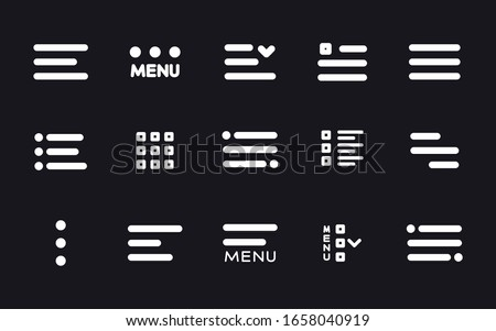 Menu UI Design Elements icons. Set of hamburger Menu buttons. Website Navigation Icons for Mobile App and User Interface. Modern Navigation buttons or Web menu and ui icons set