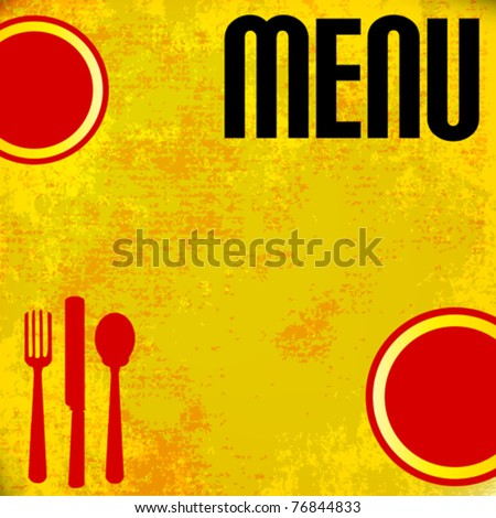 Menu Vector Template, over grunged yellow background