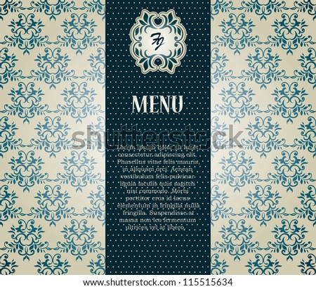 Menu. Vintage card with seamless damask wallpaper, Can be used as invitation etc