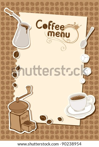 menu with a cup of sugar and coffee grinder