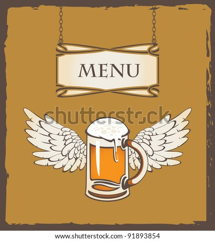 menu with a glass of beer and wings