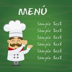 menu with cartoon chef over chalkboard. vector illustration