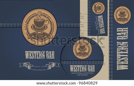 menu with cup of coffee on background of denim