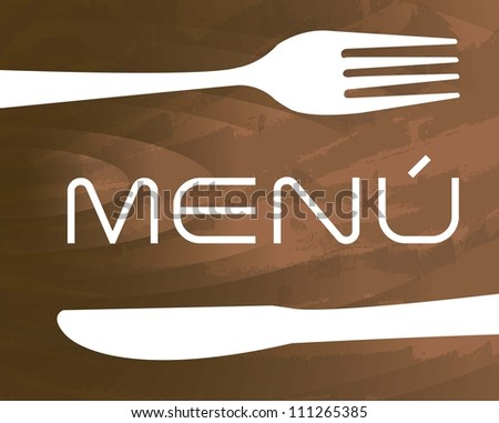menu with cutlery  over wooden texture background. vector