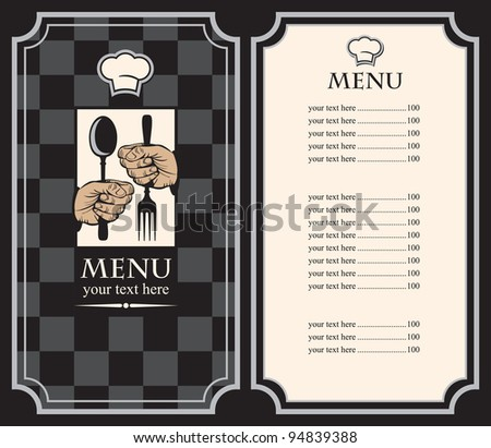 menu with hands and utensils on the chess background