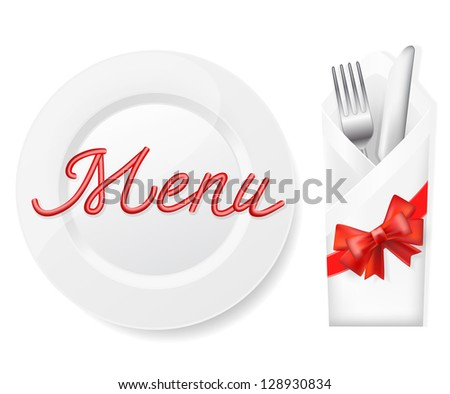 menu with plate,fork and knife in envelope