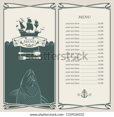 menu with sailboat and a fish in the ocean