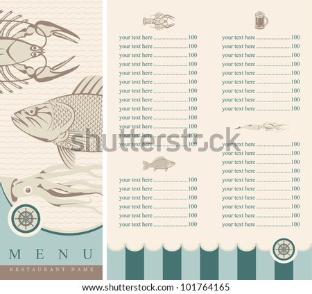 menu with seafood