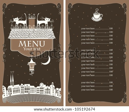 menu with two cats on the roof of the old town