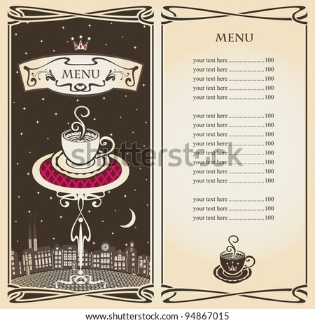 menu with urban landscape of the moon at night