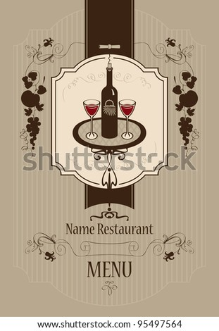 Menu with wine glasses and vine