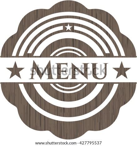 Menu wood icon or emblem