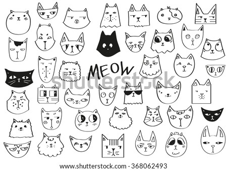 meow poster hand drawn cats in