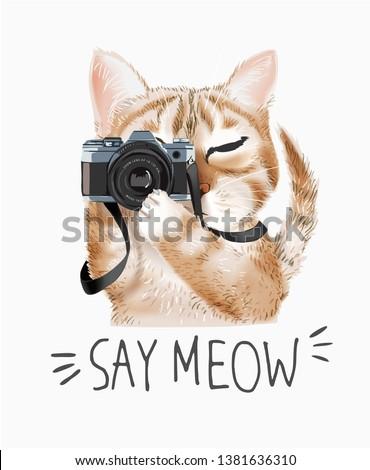 meow slogan with cartoon cute cat holding camera illustration