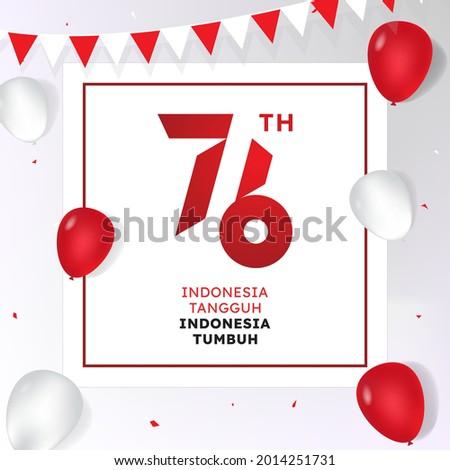 Merayakan HUT RI ke-76 means Celebrating the 76th Republic of Indonesia's Anniversary Stock fotó ©