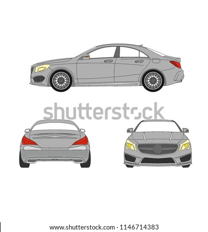 Mercedes CLA AMG  German luxury car, drawn as a vector image. This is a mercedes benz cla amg tuned sports car.