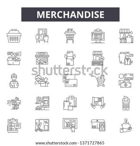 Merchandise line icons, signs set, vector. Merchandise outline concept, illustration: merchandise,sale,store,isolated,debusiness