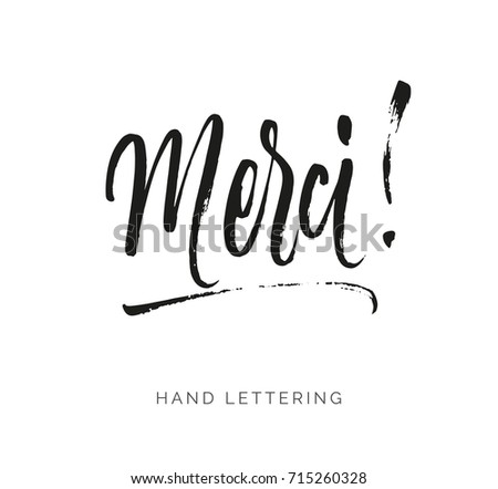 Merci. French word meaning thank you. Custom hand lettering for your design. Can be printed on greeting cards, paper and textile designs, etc. Foto d'archivio ©