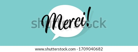 Merci, Thank you in French language Foto d'archivio ©