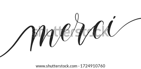 Merci -  typography lettering quote, brush calligraphy banner with  thin line. Foto d'archivio ©
