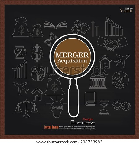 merger acquisition. merger acquisition with magnifier and business icon.vector illustration.