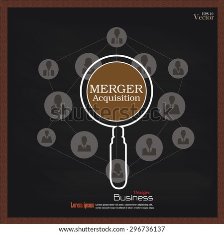 merger acquisition. merger acquisition with magnifier and business man network icon.vector illustration.