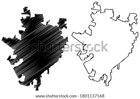 Merida City (United Mexican States, Mexico, Yucatan State) map vector illustration, scribble sketch City of Merida map
