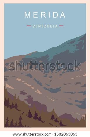 Merida retro poster. Merida travel illustration. States of Venezuela greeting card.