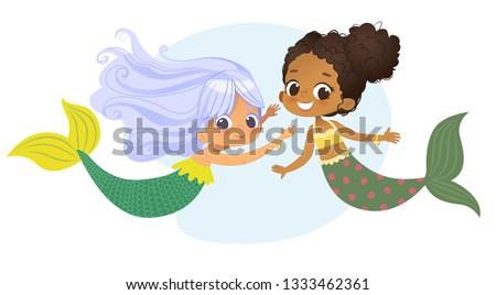 mermaid african caucasian