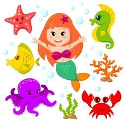 Mermaid and sea animals. Fish, starfish, octopus, seahorse