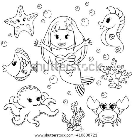 mermaid and sea animals fish