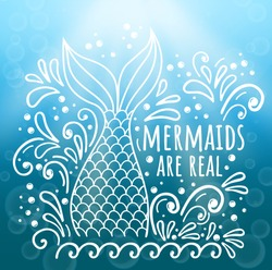 Mermaid are real. Vector doodle illustration with mermaid