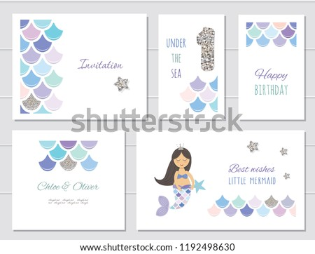 Mermaid birthday card templates set for girls. One year anniversary. Included fish skin pattern with silver glitter elements.